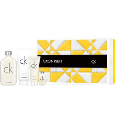 CK One Unisex by Calvin Klein 4-piece Gift Set - Eau De Toilette, Body Lotion, Shower Gel & Mini Splash
