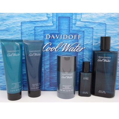 Cool Water for Men by Davidoff 5-piece Gift Set - Eau De Toilette, Aftershave, Deodorant, Shower Gel & Mini Travel Spray