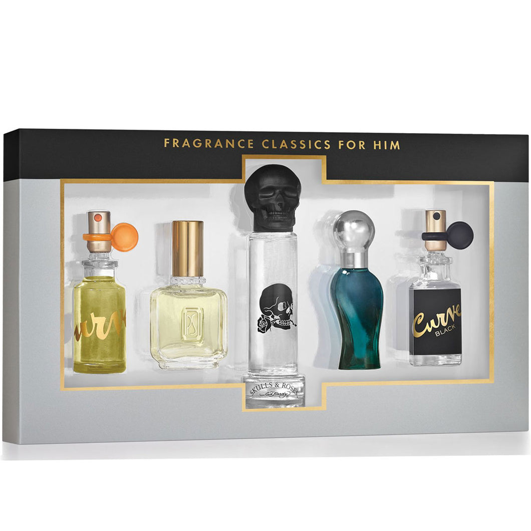 Fragrance Classics for Men Mini Variety Set - 5-piece Collection (Curve & Ed Hardy) perfume for men
