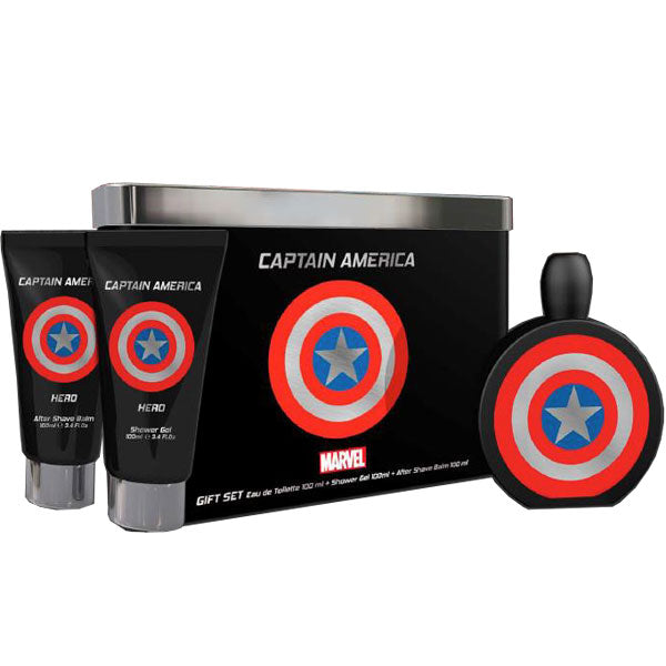 Marvel Captain America Hero for Men 3-piece Gift Set - Eau De Toilette, Shower Gel & After Shave Balm