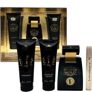 Gold for Men by New Brand Parfums 4-piece Gift Set - Eau De Toilette, Aftershave, Shower Gel & Mini Perfume