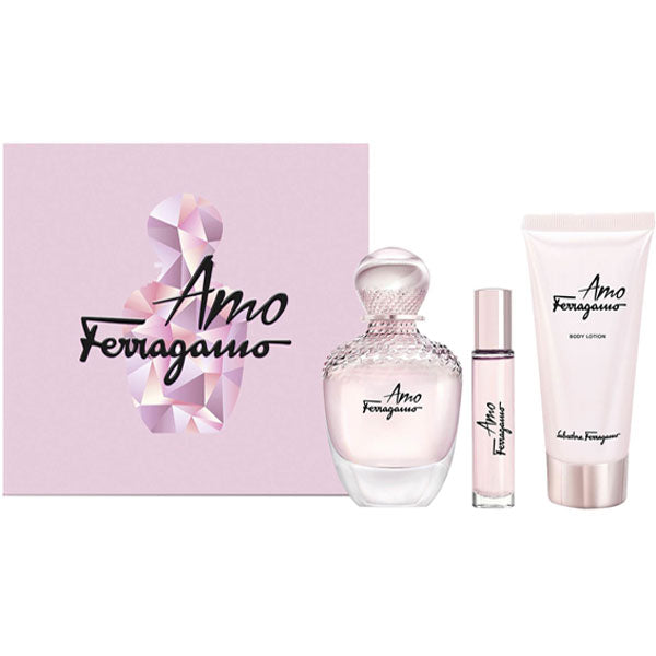 Salvatore Ferragamo Amo for Women 3-piece Gift Set - Eau De Parfum, Body Lotion & Mini Perfume