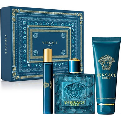 Versace Eros for Men by Gianni Versace 3-piece Gift Set - Eau De Toilette, Shower Gel & Mini Perfume