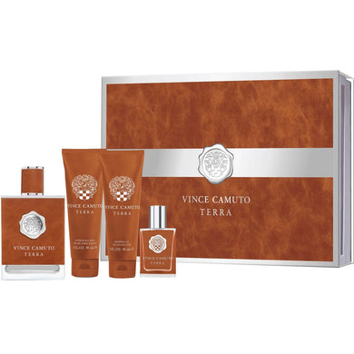 Vince Camuto Terra for Men 4-piece Gift Set - Eau De Toilette, Shower Gel, After Shave Balm & Mini Fragrance perfume for men