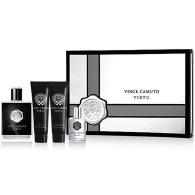 Vince Camuto Virtu for Men 4-piece Gift Set - Eau De Toilette, Shower Gel, After Shave Balm & Mini Fragrance for men