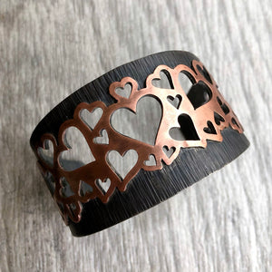 Lots of Love Heart Cuff Bracelet