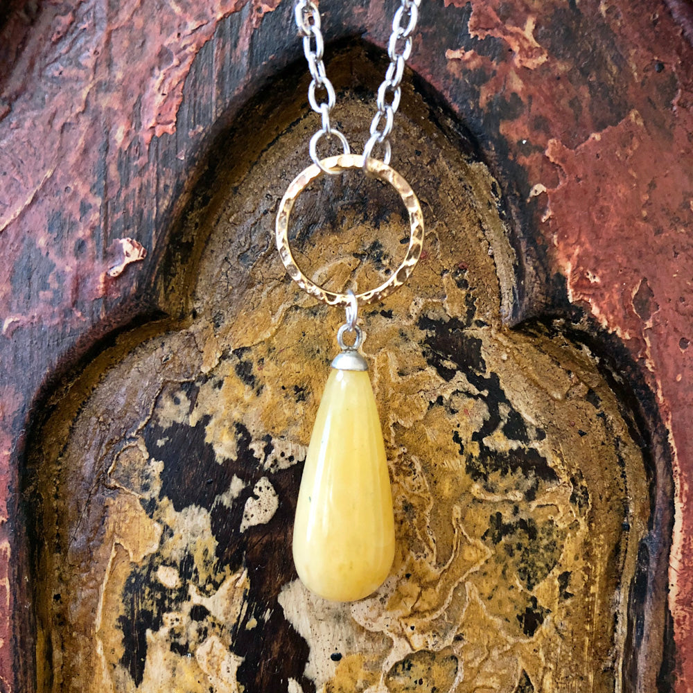Golden Quartz Raindrop Pendant Long Necklace GN-002