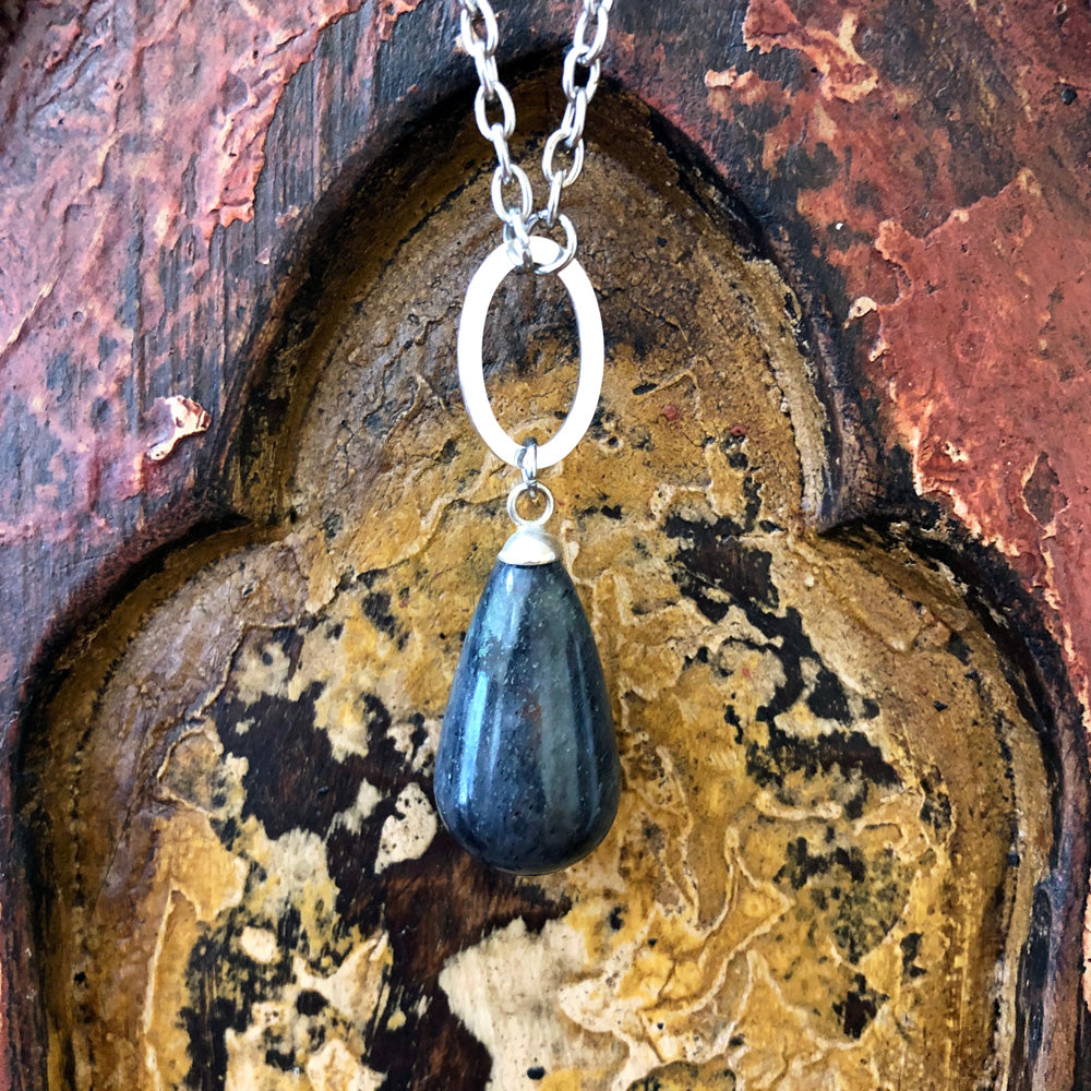 Blue Aventurine Raindrop Pendant Long Necklace GN-003
