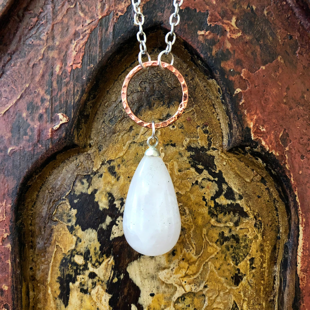 Rose Quartz Raindrop Pendant Long Necklace GN-006