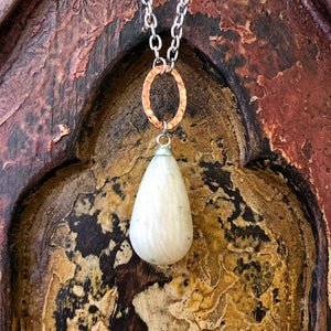 Moonstone Raindrop Pendant Long Necklace GN-009