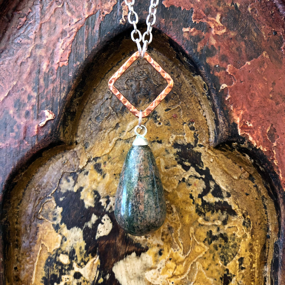 Unakite Raindrop Pendant Long Necklace GN-011