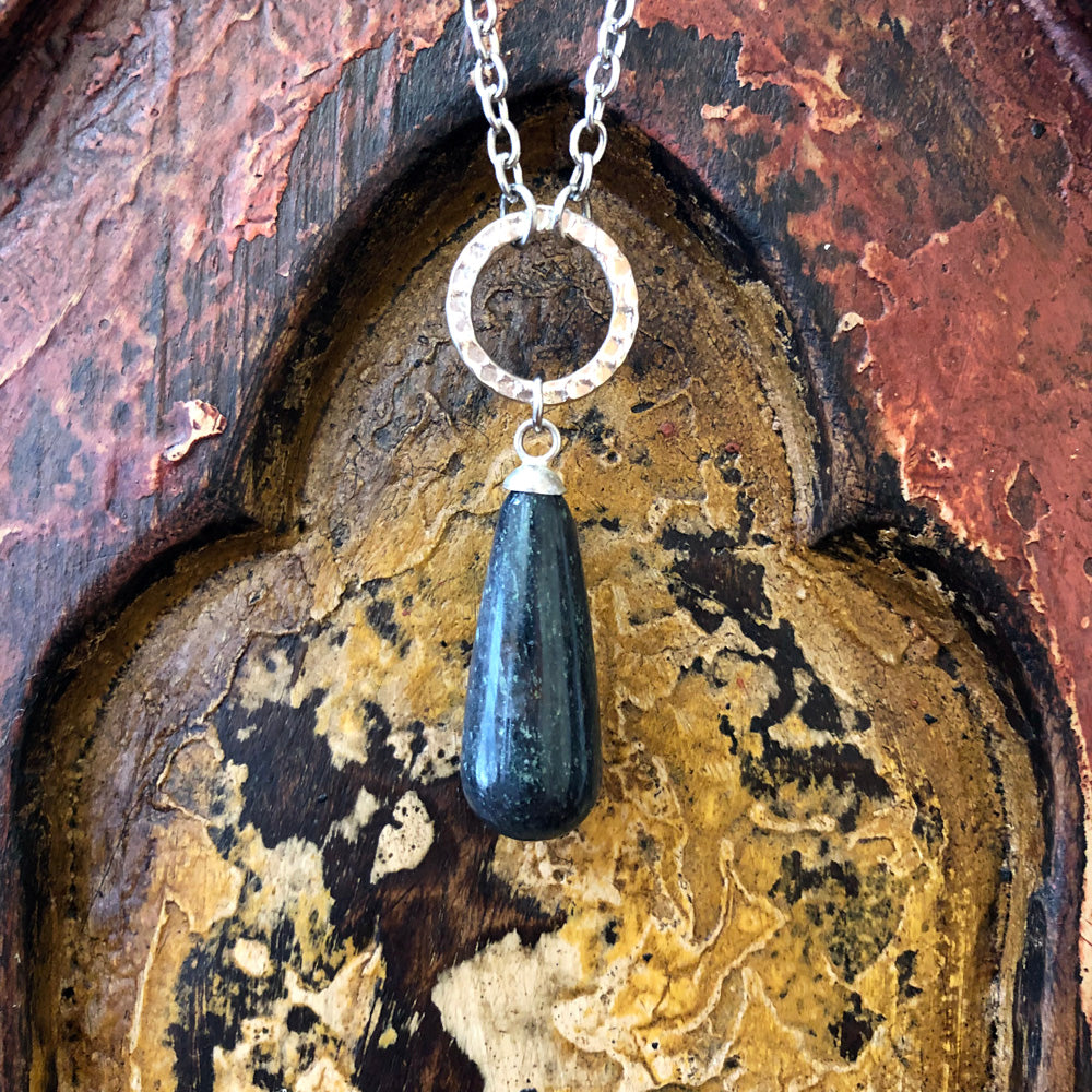 Blue Aventurine Raindrop Pendant Long Necklace GN-012