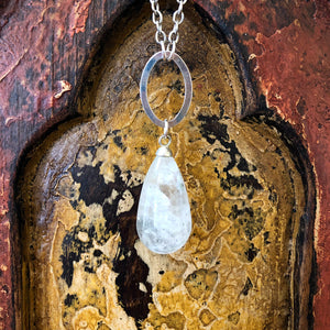 Clear Quartz Raindrop Pendant Long Necklace GN-014