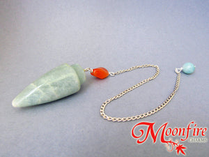 Green Aventurine, Carnelian and Amazonite Teardrop Pendulum GP-001