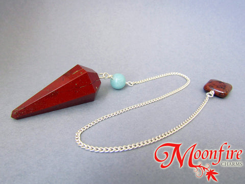 Red Jasper, Amazonite and Mahogany Obsidian Faceted Pendulum GP-008