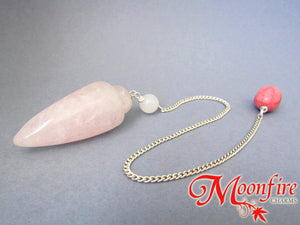 Rose Quartz, Snow Quartz and Pink Marble Teardrop Pendulum GP-010