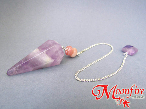 Amethyst and Pink Opal Faceted Pendulum GP-014