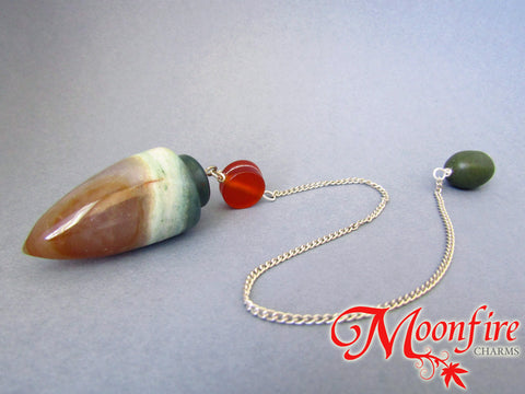 Fancy Agate, Carnelian and Olive Jasper Teardrop Pendulum GP-015