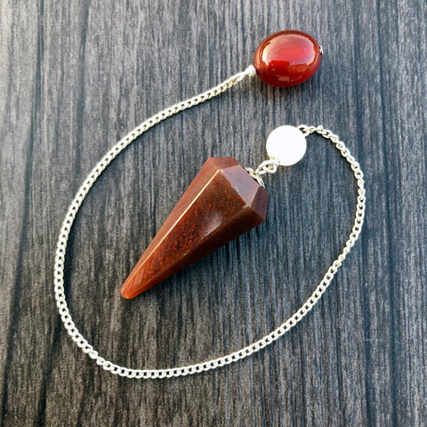 Fancy Agate, Snow Quartz and Carnelian Faceted Pendulum GP-016