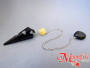 Snowflake Obsidian and Calcite Faceted Pendulum GP-017