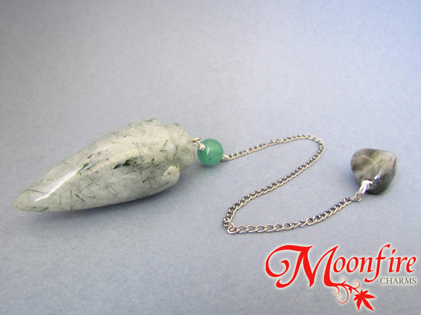 Rutilated Quartz, Green Aventurine and Moss Agate Teardrop Pendulum GP-024