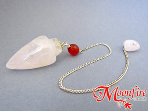 Crystal Quartz and Carnelian Teardrop Pendulum GP-030