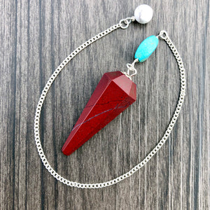 Red Jasper, Turquoise and White Howlite Faceted Pendulum GP-035
