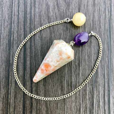 Sunstone, Amethyst and Calcite Faceted Pendulum GP-038