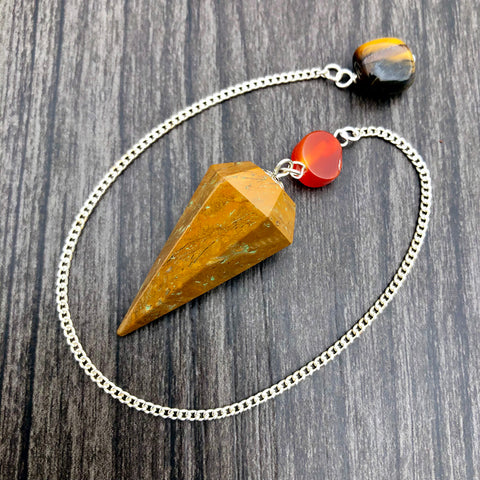 Camel Jasper, Carnelian and Tiger's Eye Faceted Pendulum GP-043