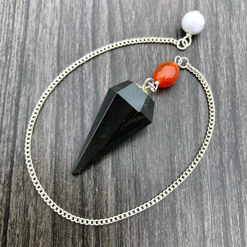 Black Agate, Carnelian and White Howlite Faceted Pendulum GP-047