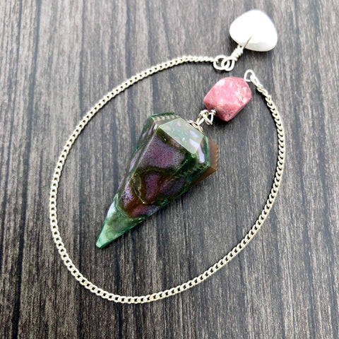 Fancy Jasper, Rhodonite and Snow Quartz Faceted Pendulum GP-049