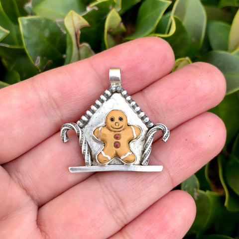 Gingerbread Cottage Pendant Necklace