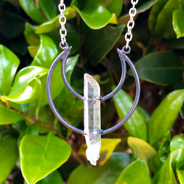 Crescent Moon Lemurian Seed Quartz Pendant Necklace F
