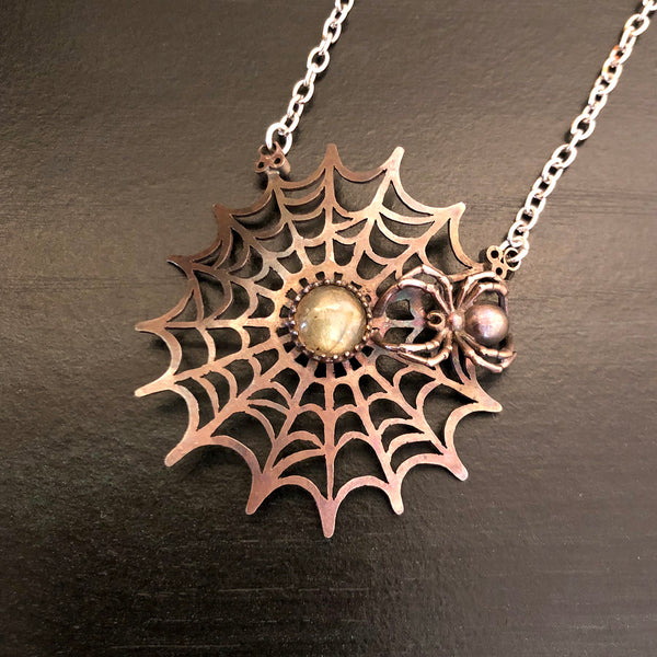 The Spider's Treasure - Orb Web Pendant Necklace