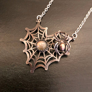 The Spider's Treasure - Heart Web Pendant Necklace