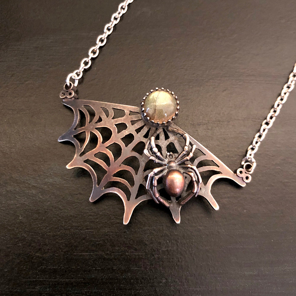 The Spider's Treasure - Pixie Web Pendant Necklace