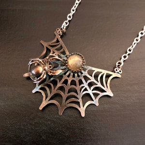 The Spider's Treasure - Fairy Web Pendant Necklace