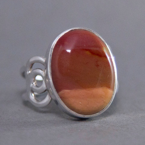 Mookaite Jasper Oval Rose Sterling Silver Ring US 9 SS-031