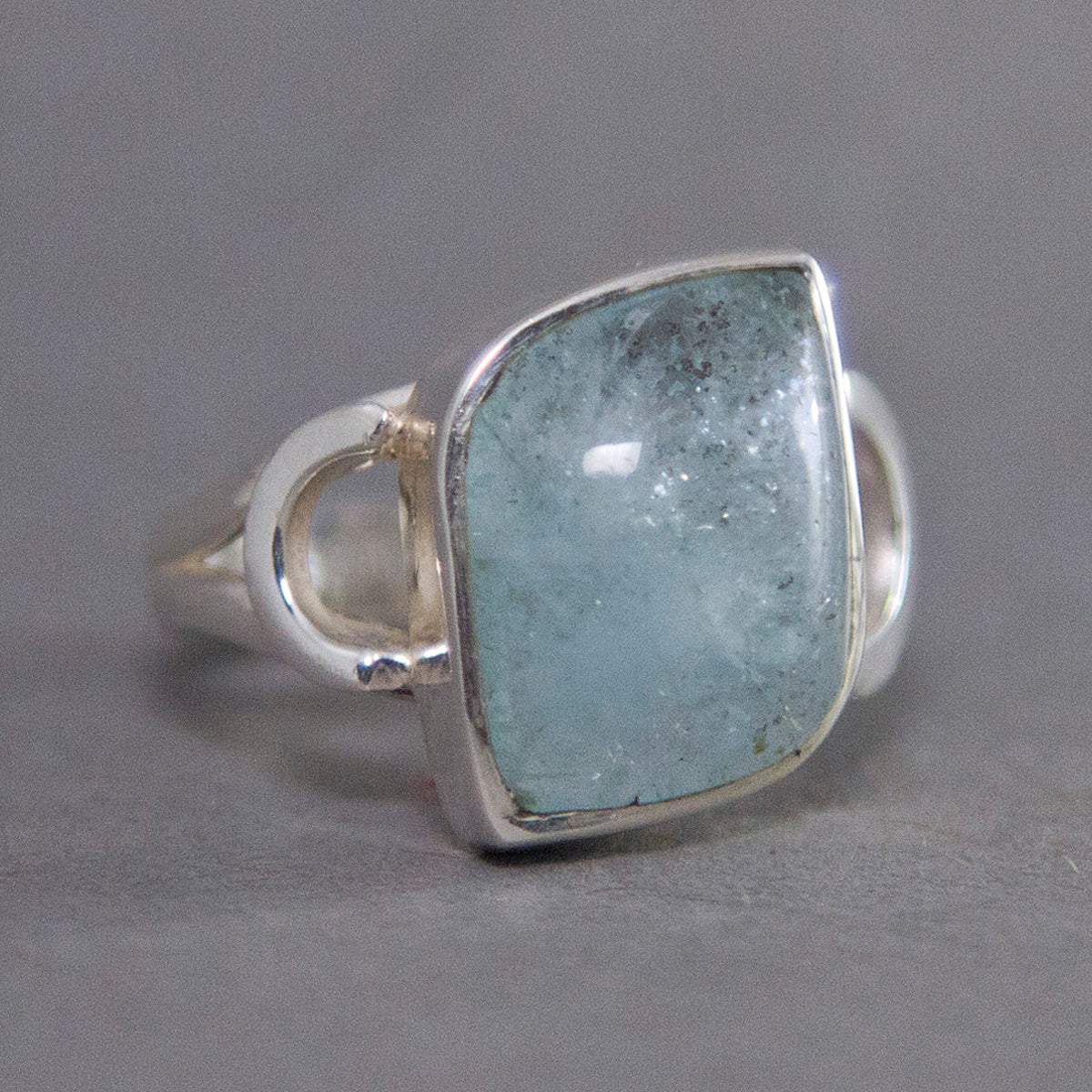Aquamarine Fancy Modern Sterling Silver Ring US 8.5 SS-033