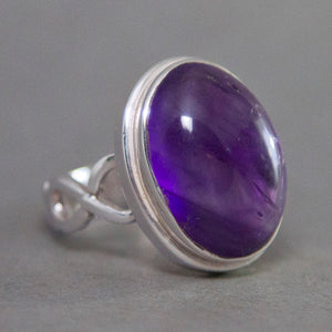 Amethyst Oval Infinity Sterling Silver Ring US 7 SS-036