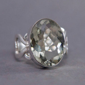 Prasiolite Oval Scrollheart Sterling Silver Ring US 8.5 SS-037
