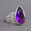Amethyst Teardrop Braid Sterling Silver Ring US 7.5 SS-038