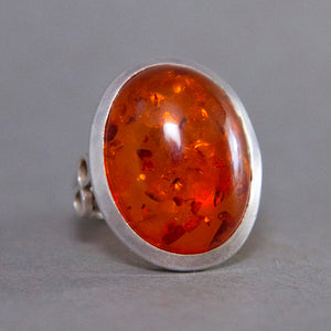Baltic Amber Oval Infinity Sterling Silver Ring US 7.5 SS-039