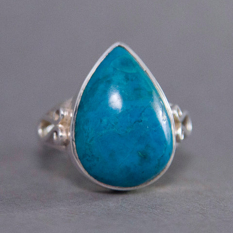 Chrysocolla Teardrop Scroll Sterling Silver Ring US 7.5 SS-040