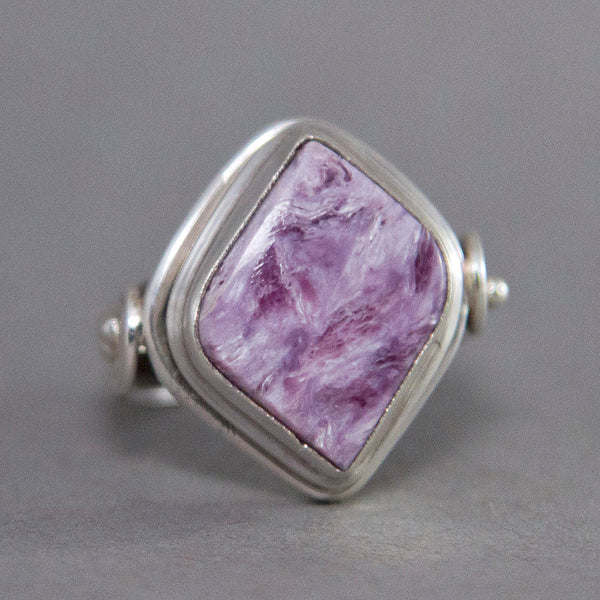 Charoite Fancy Spiral Sterling Silver Ring US 8 SS-041