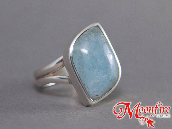 Aquamarine Fancy Classic Sterling Silver Ring US 7 SS-042