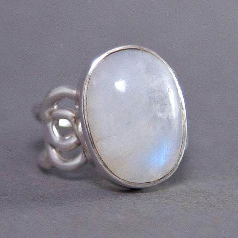 Rainbow Moonstone Oval Rose Sterling Silver Ring US 7 SS-044