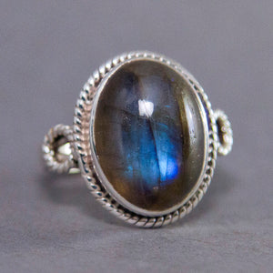 Labradorite Oval Braided Sterling Silver Ring US 8 SS-046