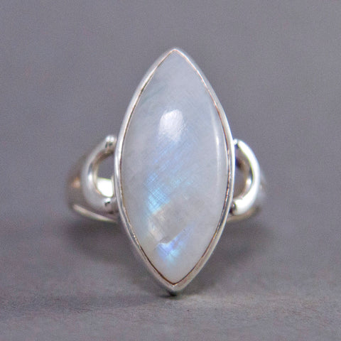 Rainbow Moonstone Marquise Curved Sterling Silver Ring US 7.5 SS-048