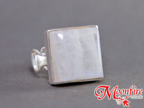 Rainbow Moonstone Square Omega Sterling Silver Ring US 8 SS-049